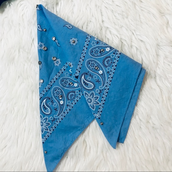 b4b784b262 Bandana Blue White Black Silver Studded Blinged
